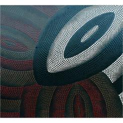 Tableau tryptique d'Art Aborigène réf 143 (50 x 50 cm)